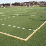 Acrylic Temporary Tennis Lines painted on Artificial Grass Pitch