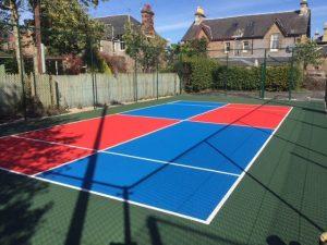 Kids' Zone – Mini Tennis Court KZ Blue & KZ Red – Inner Dark Green – Outer