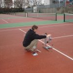 Slip Testing Macadam Tennis Courts in Damp Condition