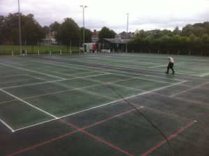 Tennis Refurbishment - Applying Macadam Surface Binder