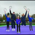 Judy Murray and some local Schoolchildren on Cromlix House Tennis Court