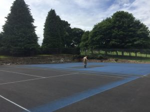 Tennis Court Painting - Applying 1st Coat of US Open Blue