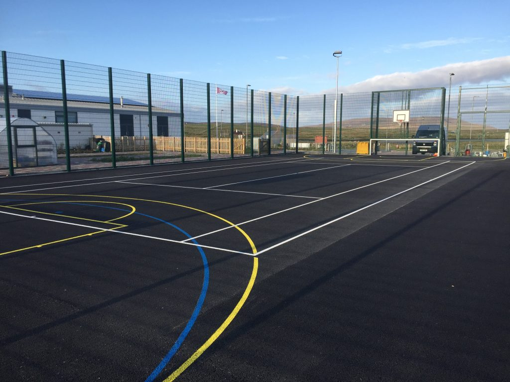 Painting Tennis Court Lines on MUGA